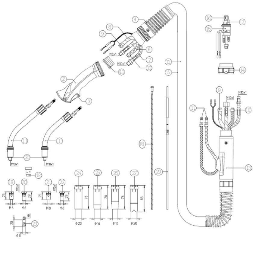 Wybitny UCHWYT SPAWALNICZY MIG/MAG BINZEL MB 501 5M | SPAWALNICTWO SM39